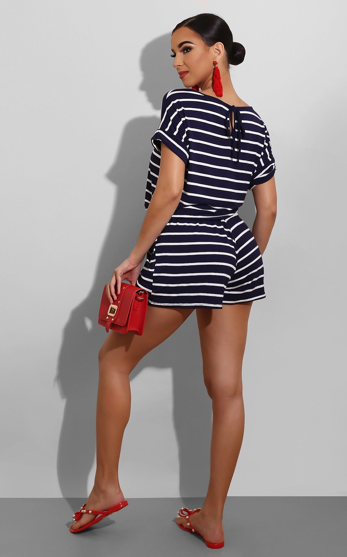 Casual Striped Romper Navy
