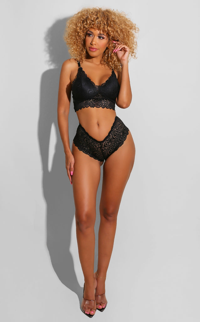 Butterfly Lace Boy Short Set Black