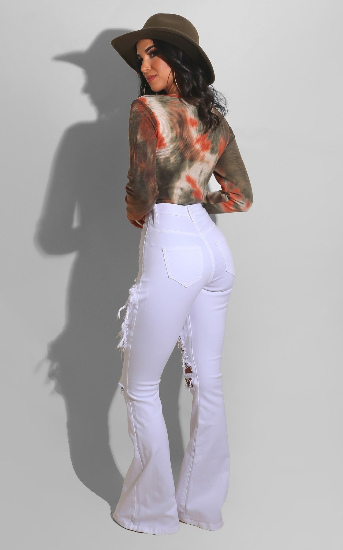 Chill Ripped Denim Bell Bottoms White