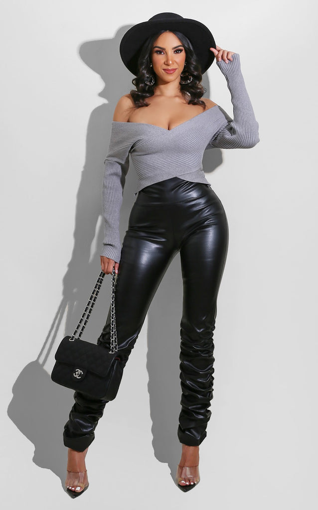 Fall Pleather Scrunch Leggings Black