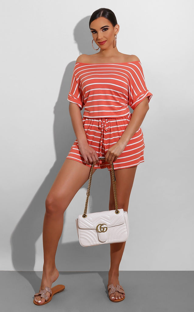 Casual Striped Romper Coral