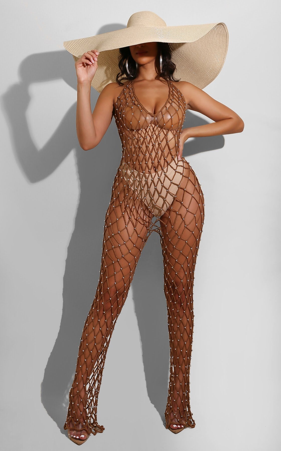 Fishnet Coverup Jumpsuit Mocha