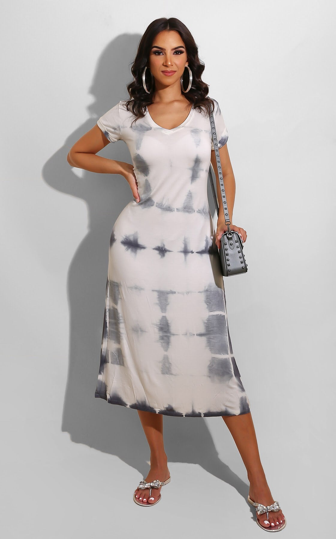 Relax Day Tie Dye Dress Charcoal