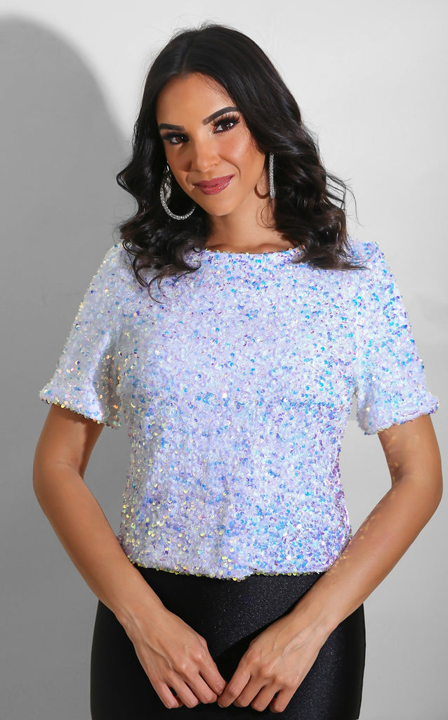 Glitz Sequin Top White