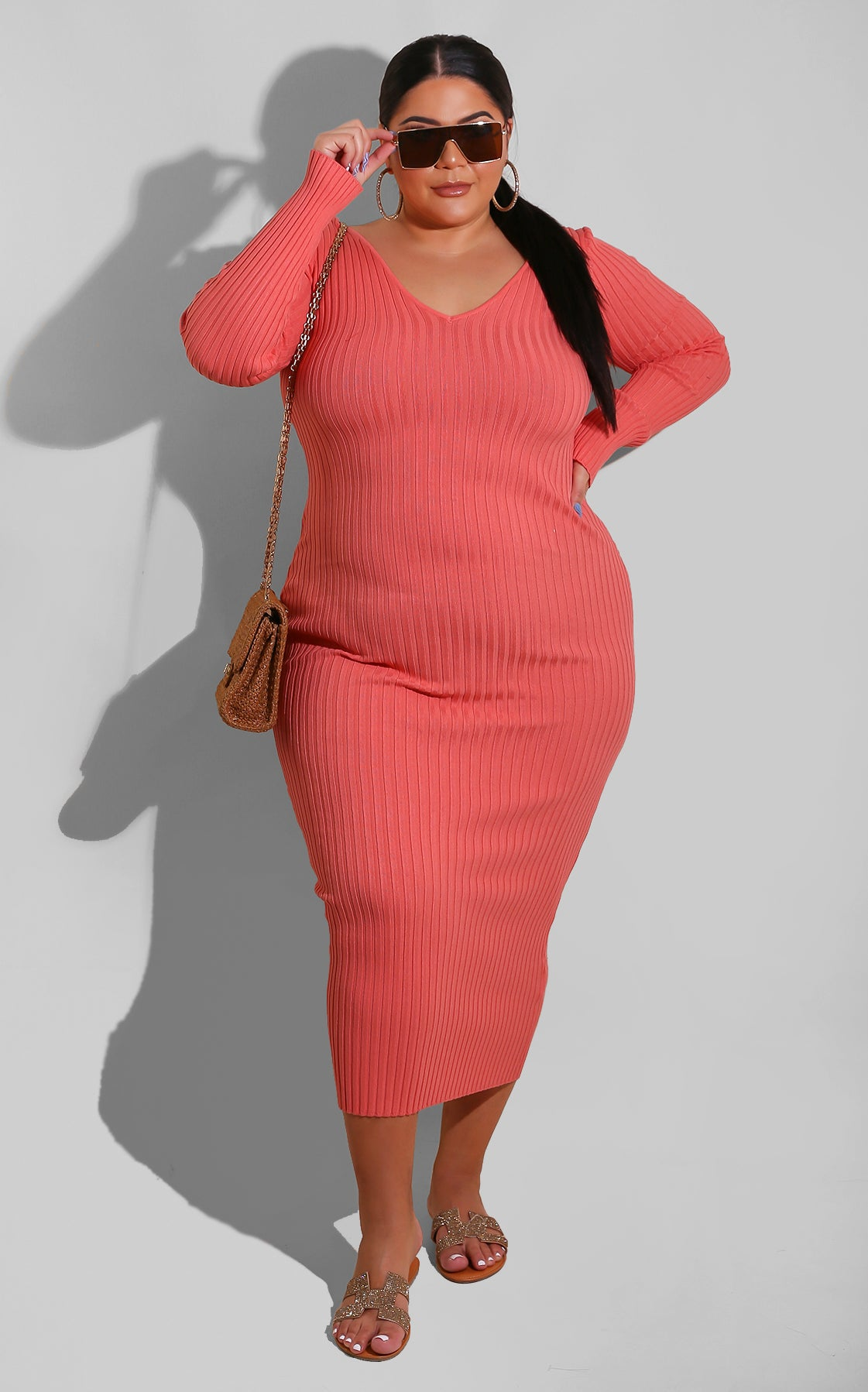 Curvy Sweater Essential Dress Coral