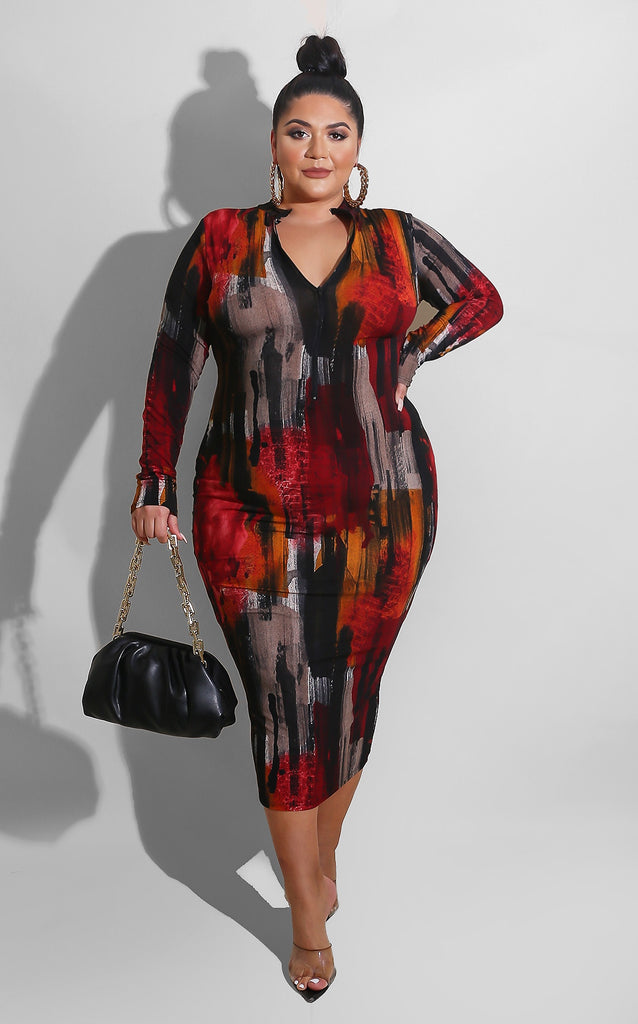 Curvy Nightfall Brush Midi Red