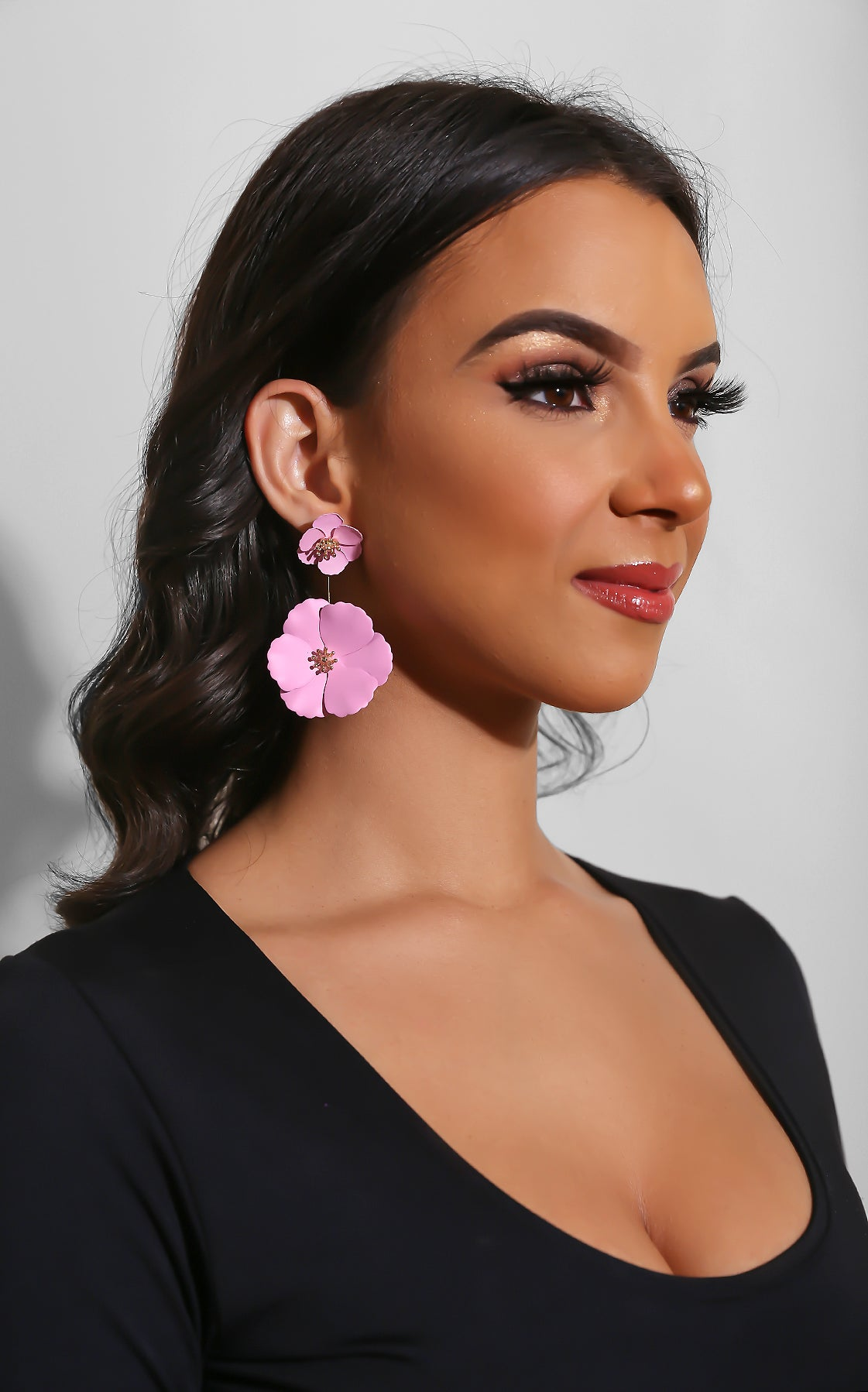 Oversize Flower Earrings Pink