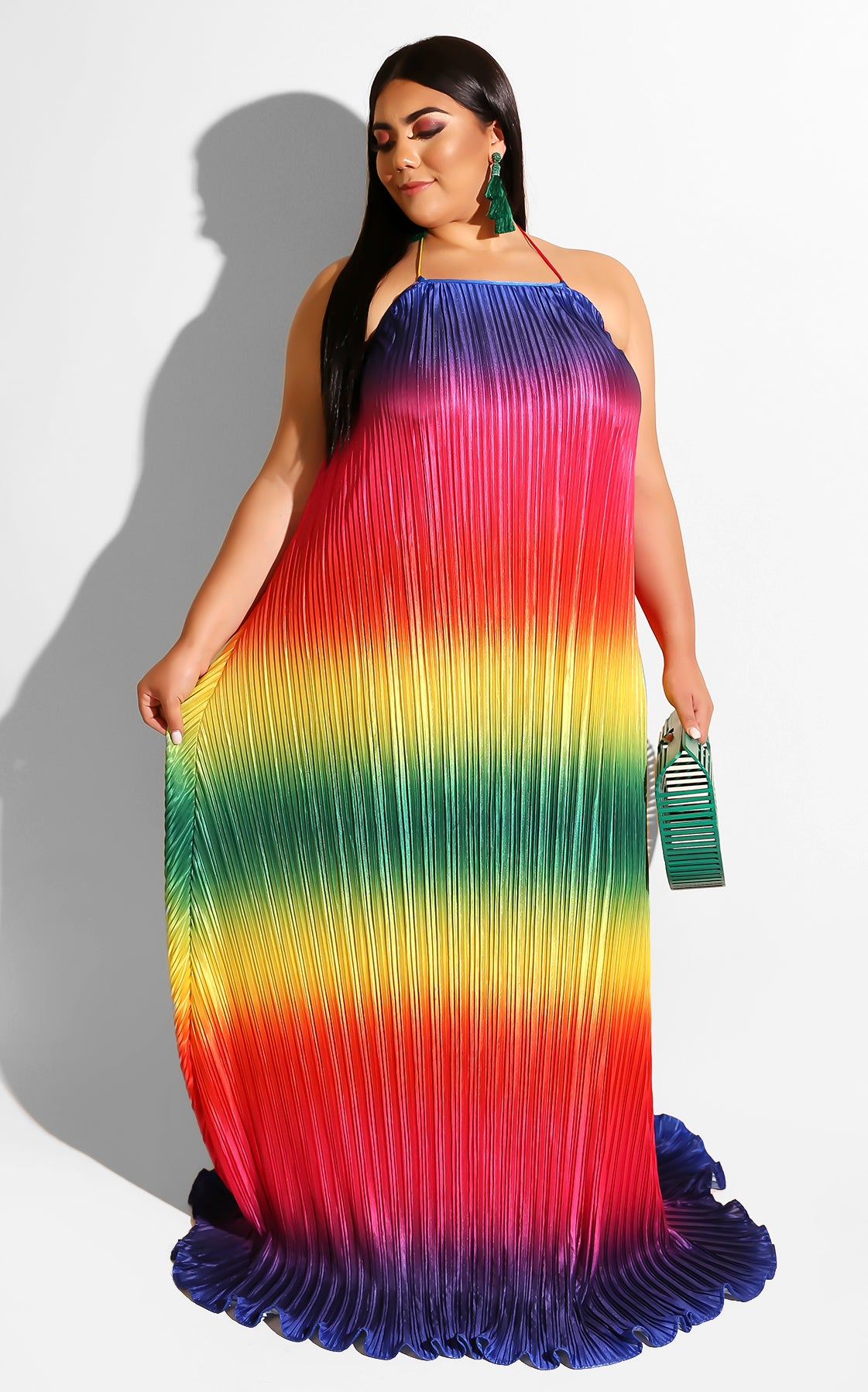 Curves Pleated Rainbow Dress