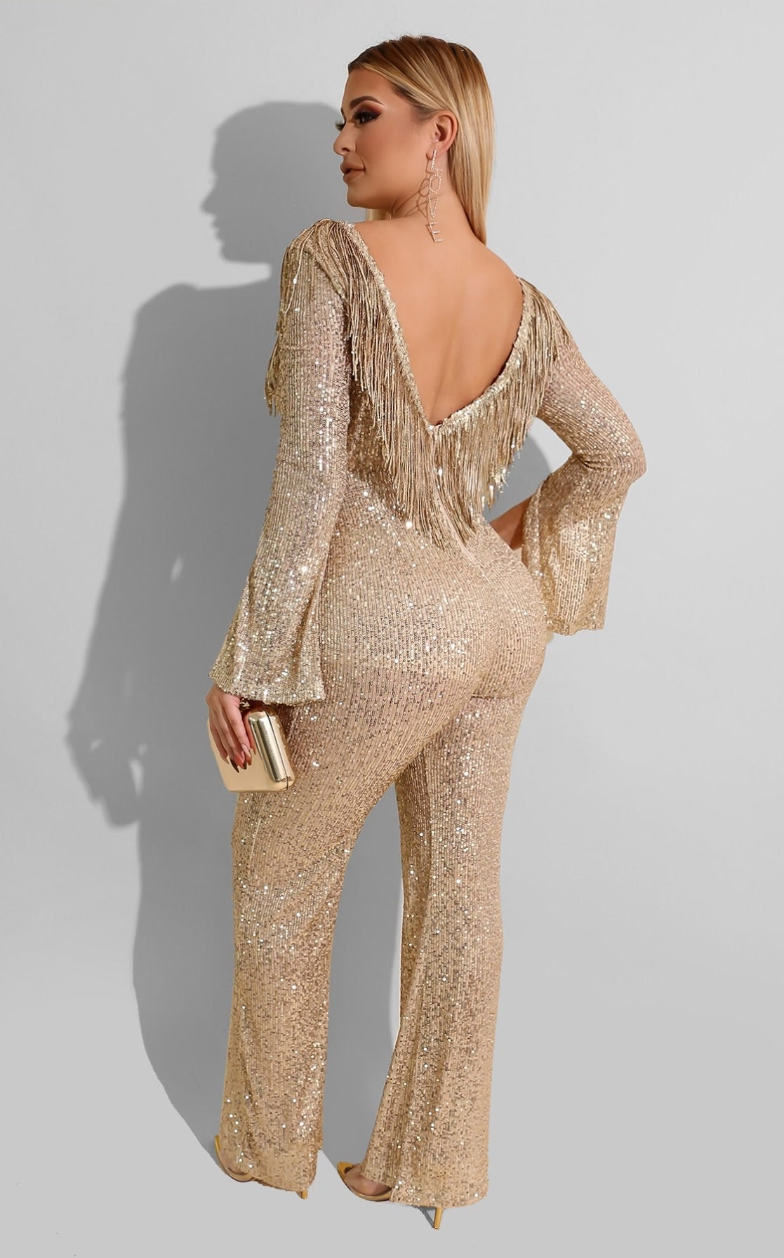 Celebrate Sequin Jumpsuit Gold