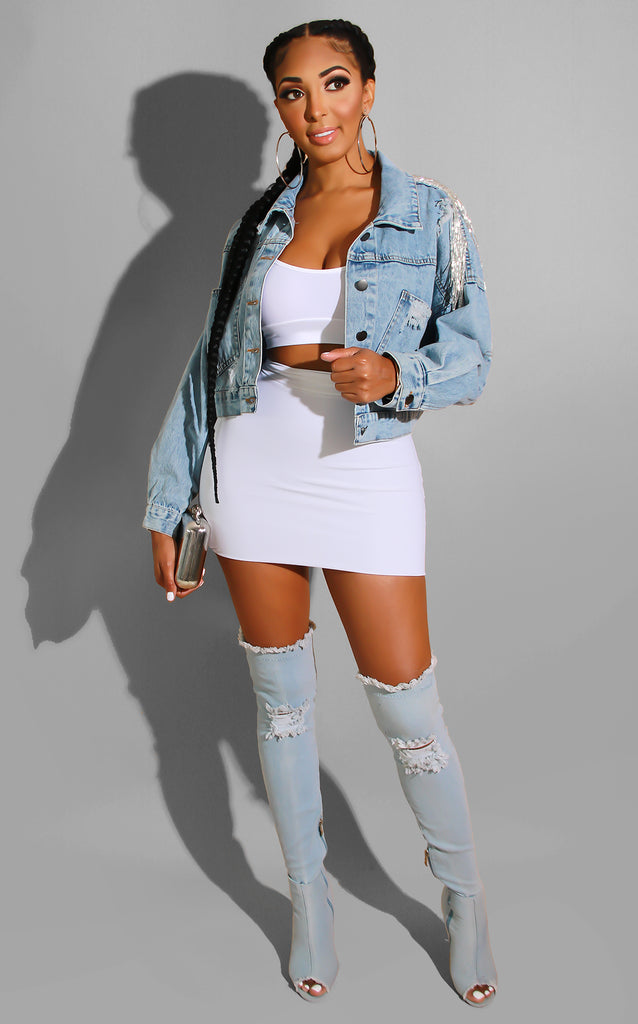 Distressed Ripped Me Denim Jacket