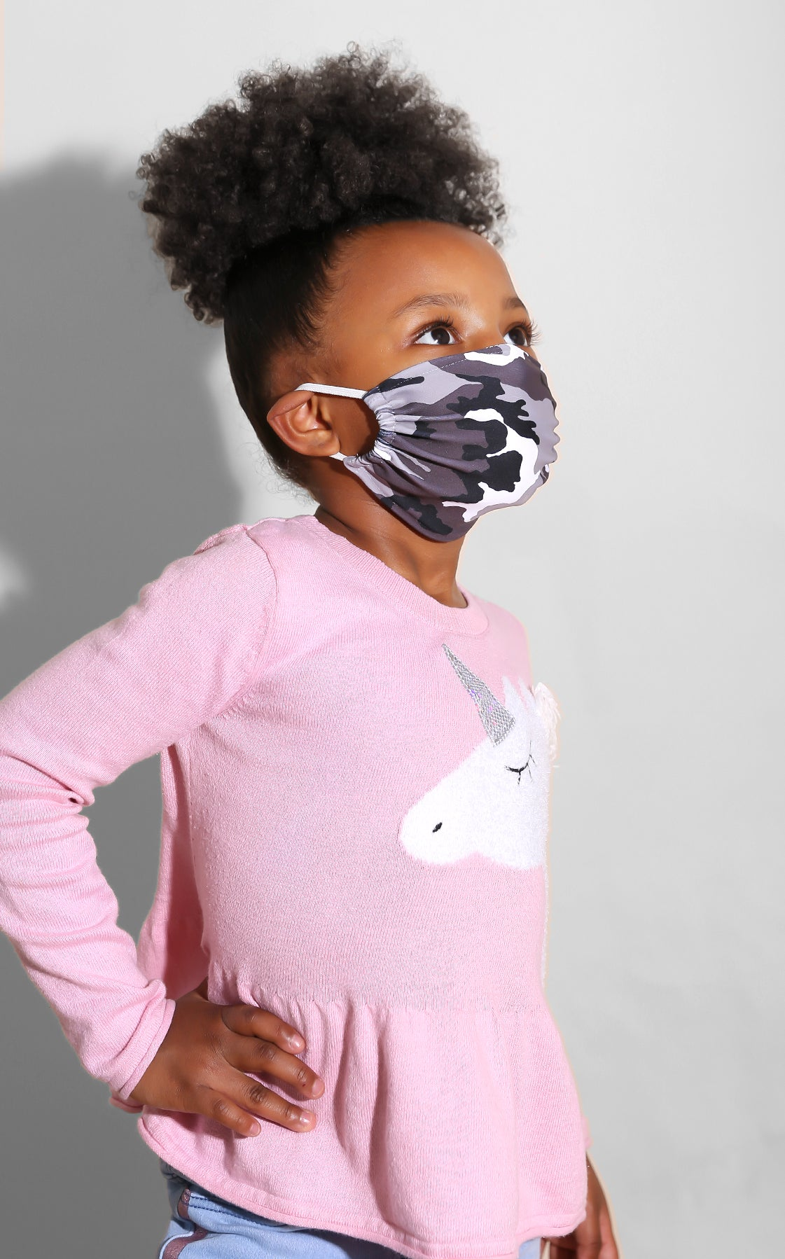 Mini Me Camo Face Mask Grey