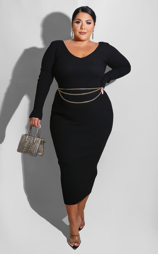 Curvy Sweater Essential Dress Black