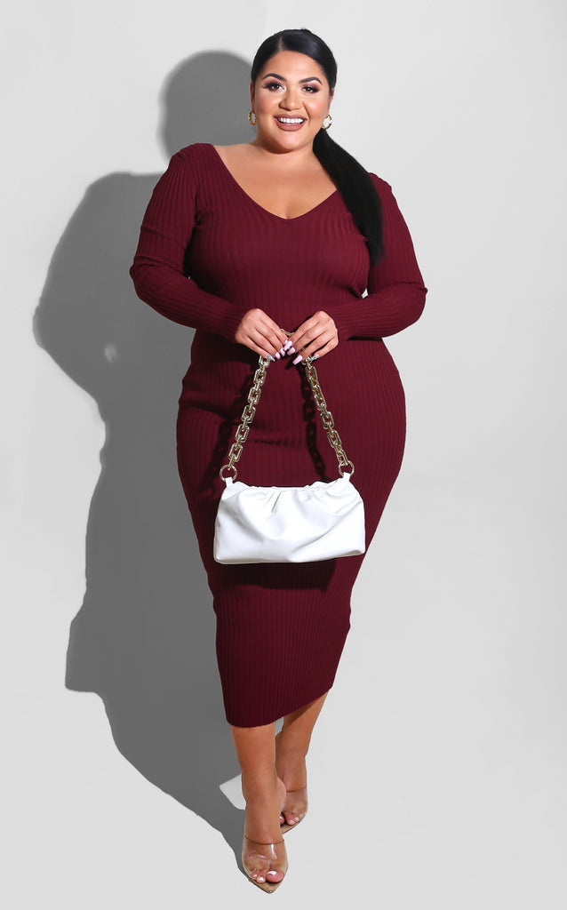 Curvy Sweater Essential Dress Burgundy