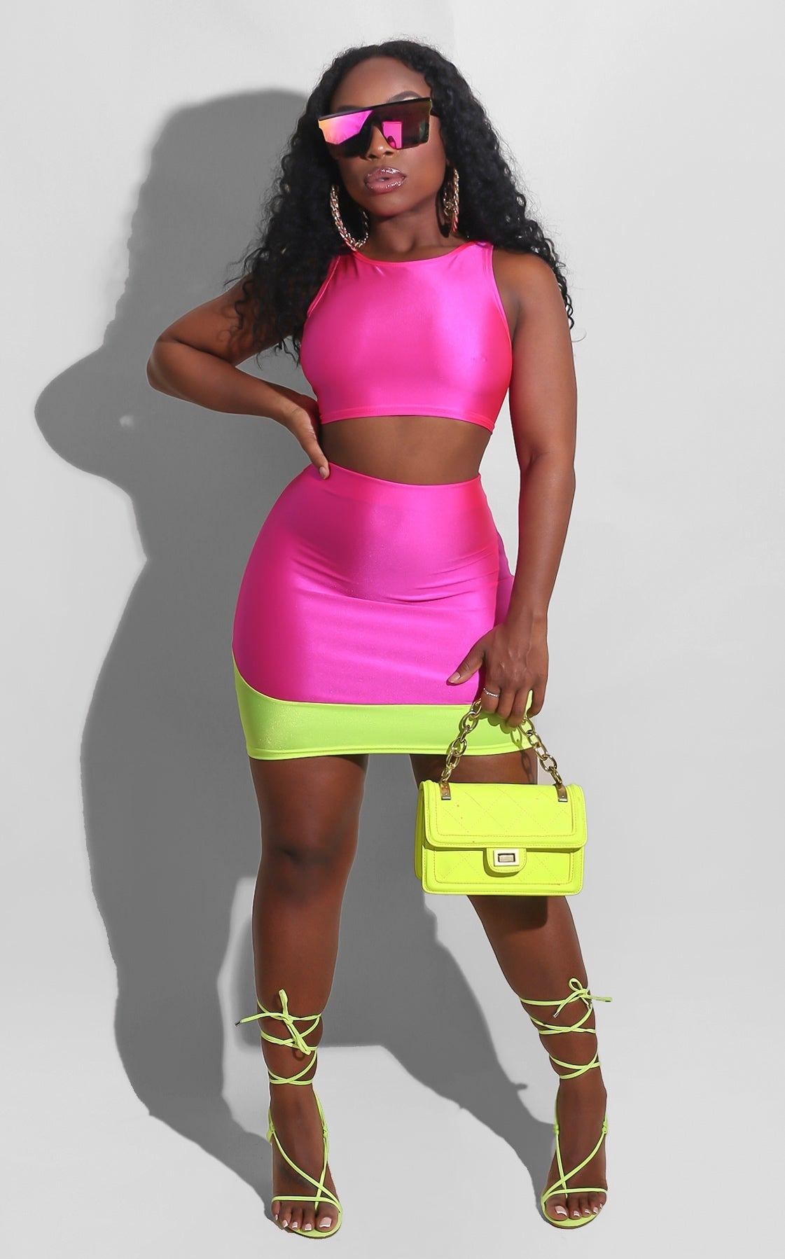 Color Block Skirt Set Pink