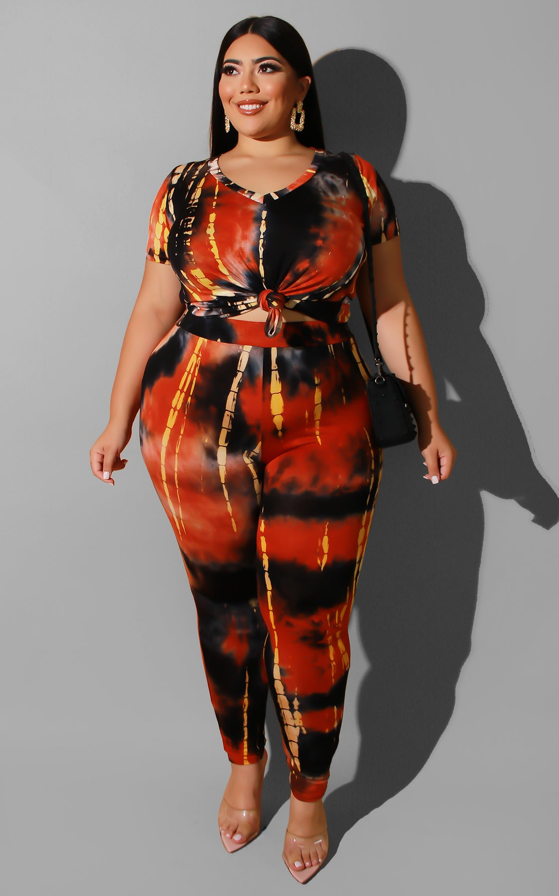 Curvy Tie Dye Fall Casual Set