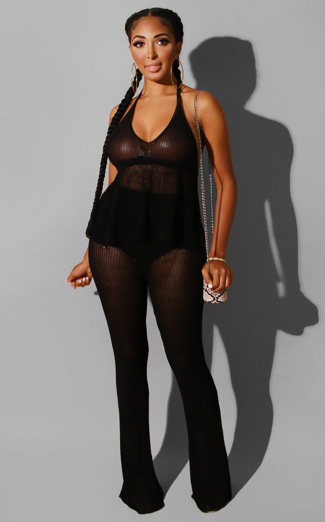 Sheer Knit Coverup Set