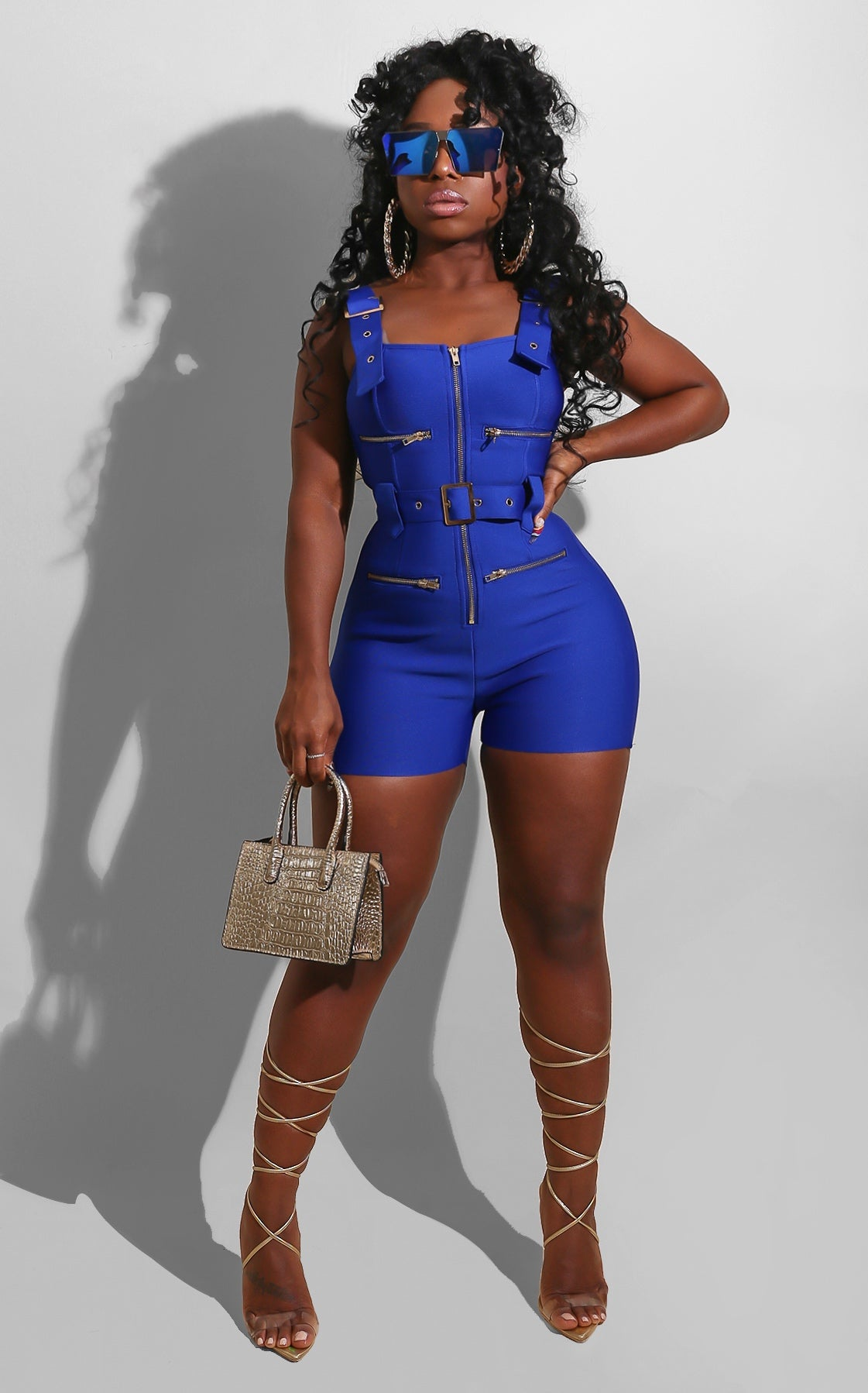 Bandage Bright Romper Royal Blue