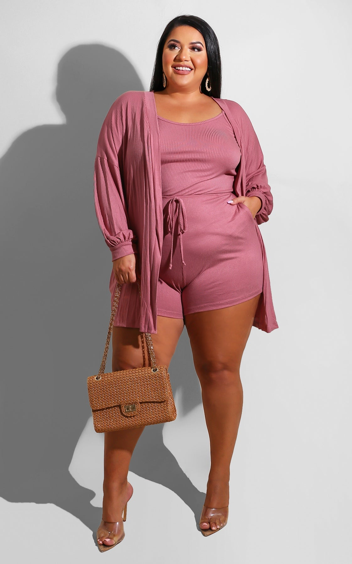 Curvy Cozy Romper Set Blush