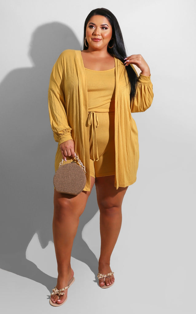 Curvy Cozy Romper Set Yellow