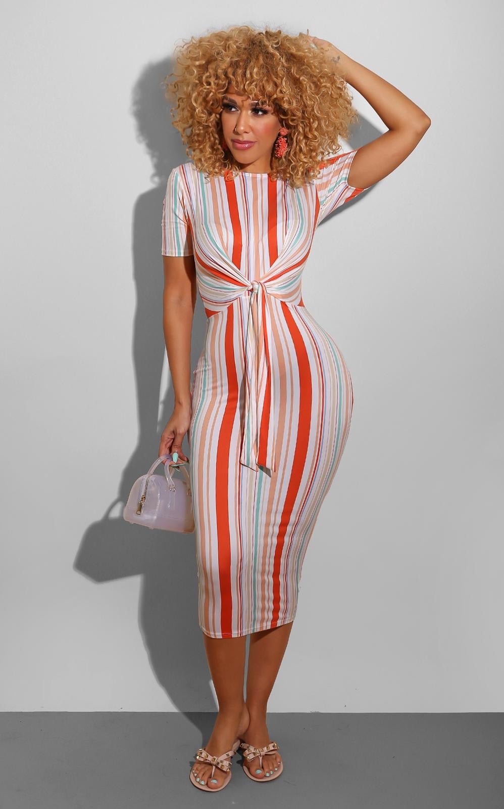 Summer Stripe Knot Midi