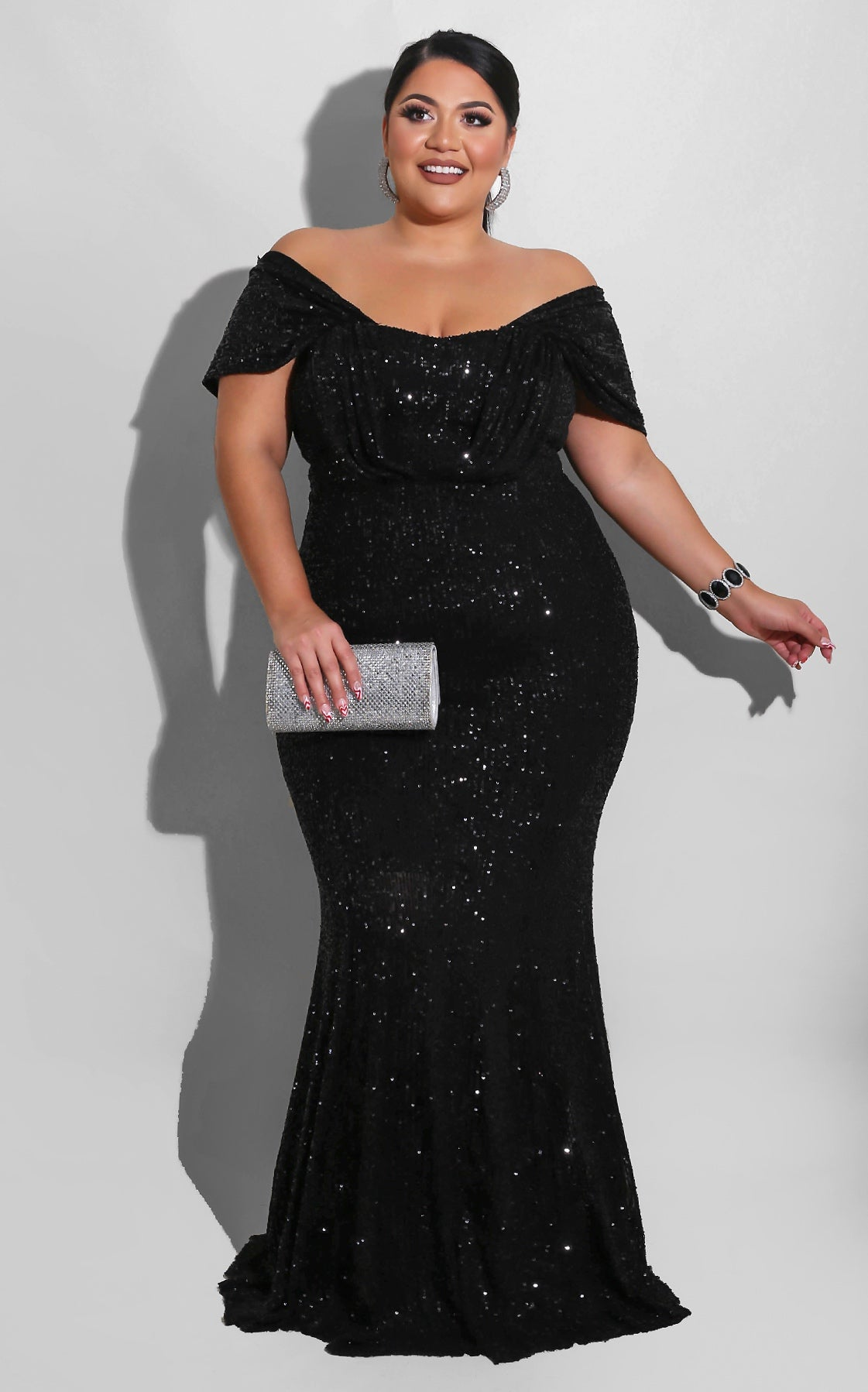 Curvy Sequin Doll Night Gown Black