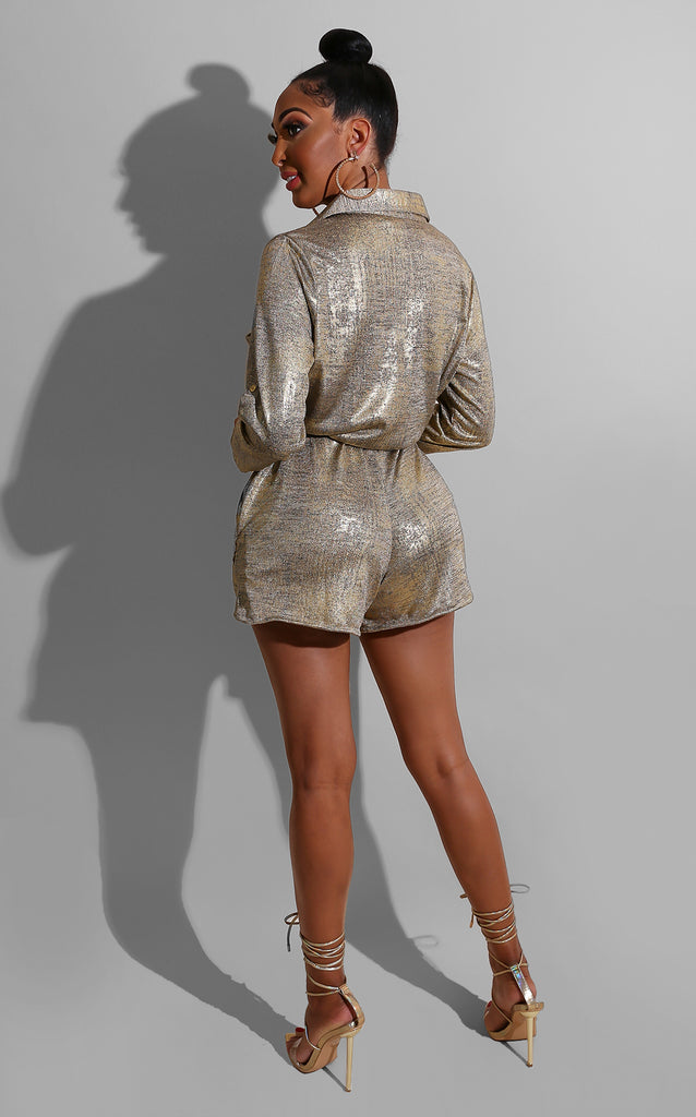Brush  Metallic Rhinestone Romper