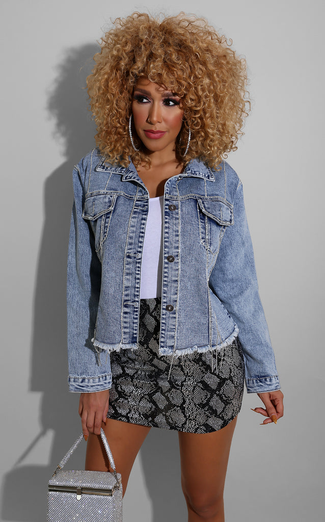 Rhinestone Detail Denim Jacket