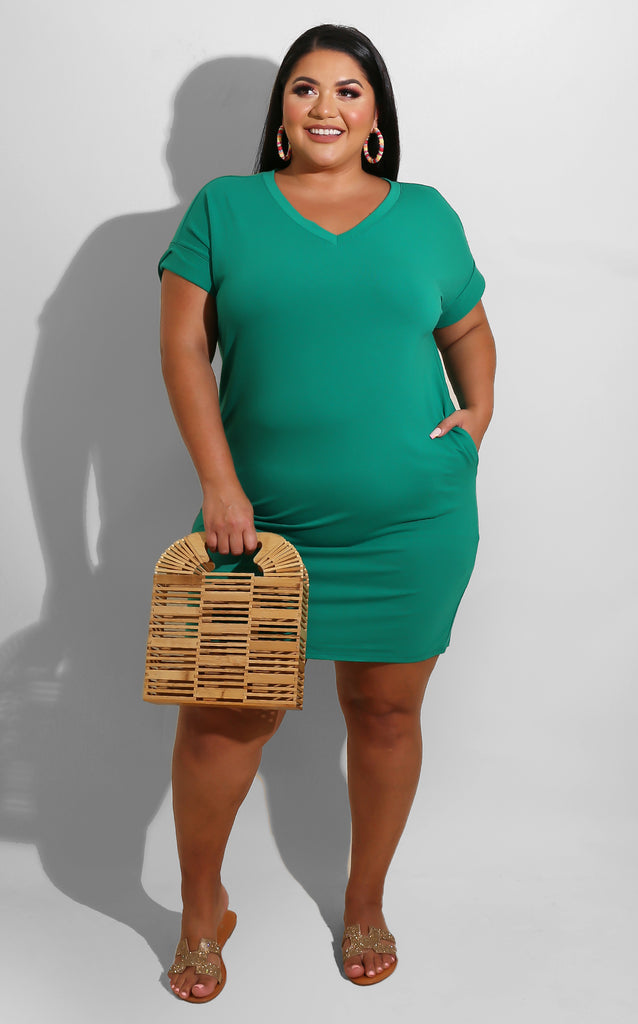 Curvy Lounging Dress Green