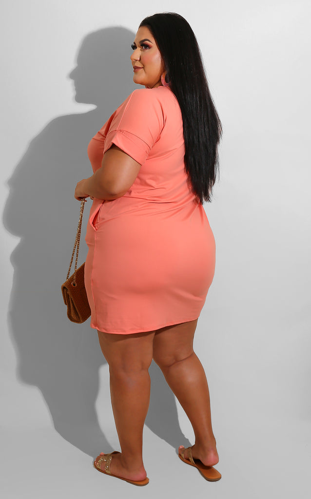 Curvy Lounging Dress Coral