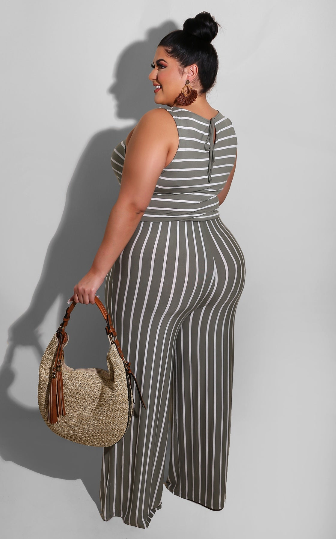 Curvy Taking a Break Jumpsuit Sage