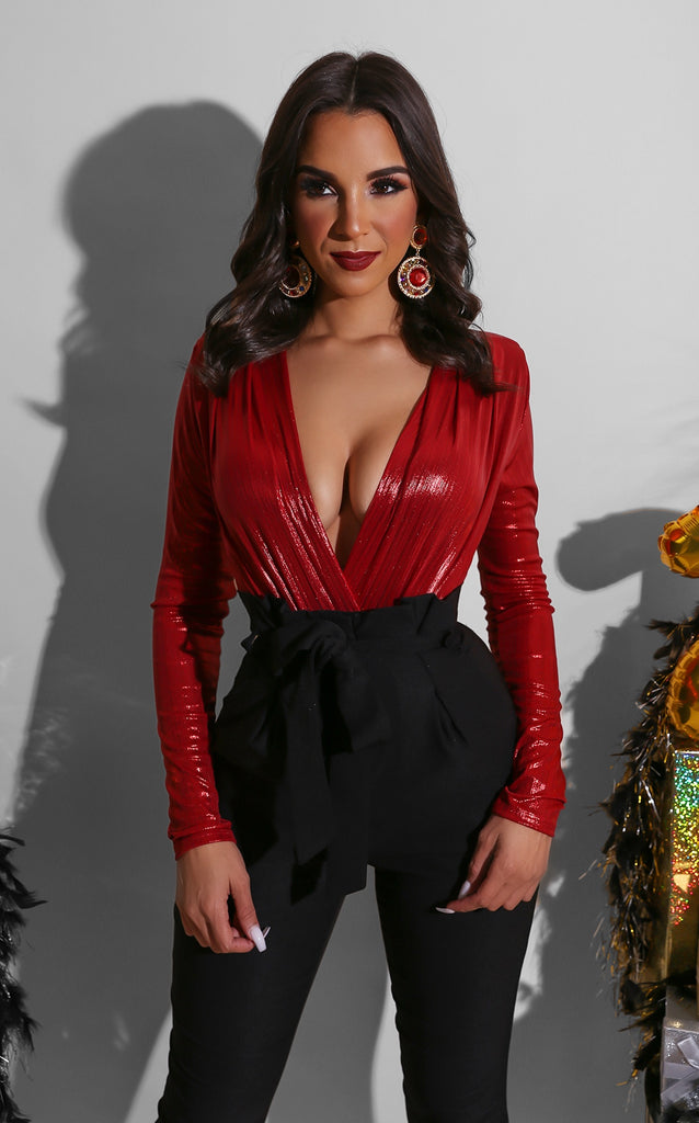 Shine On Bodysuit Red