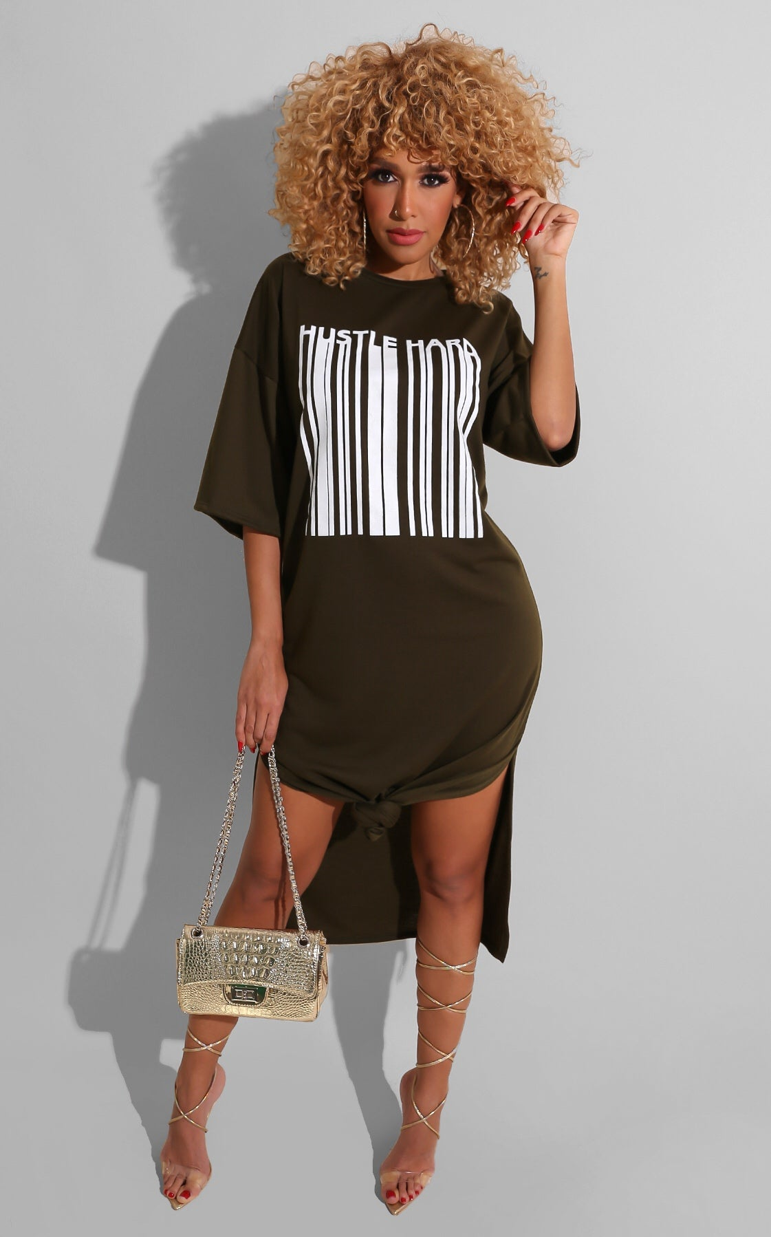 Hustle Hard Shirt Dress Olive