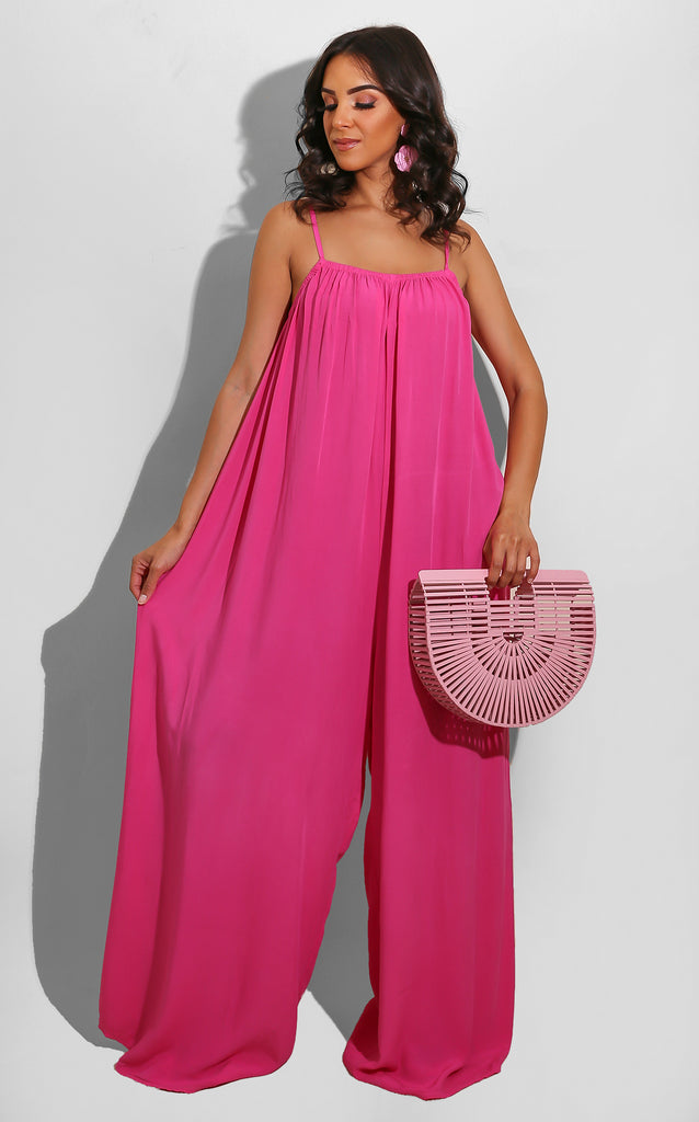 Spring Boho Jumpsuit Hot Pink