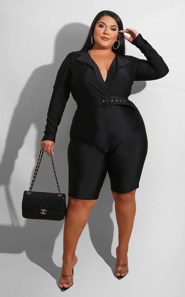 Curvy I'm The Trend Romper Black