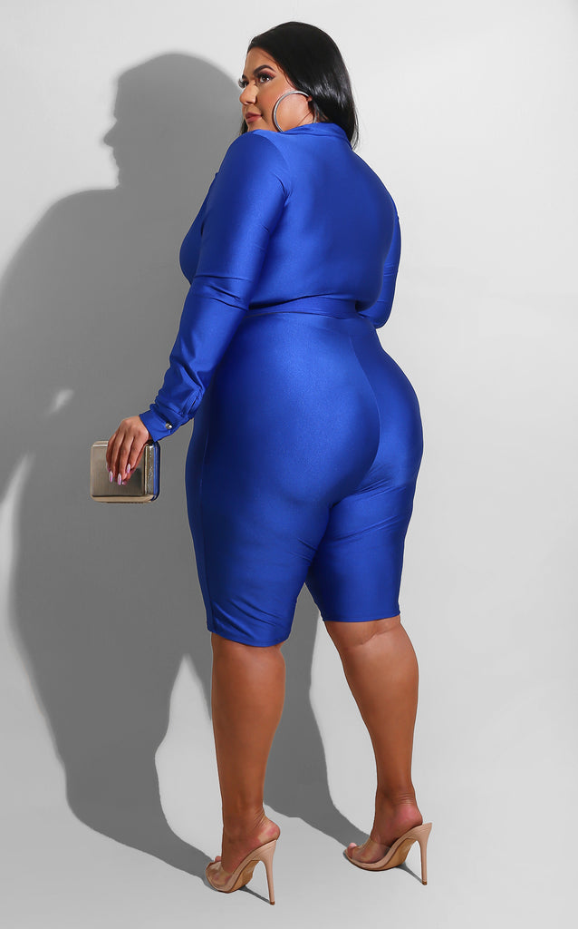 Curvy I'm The Trend Romper Royal Blue