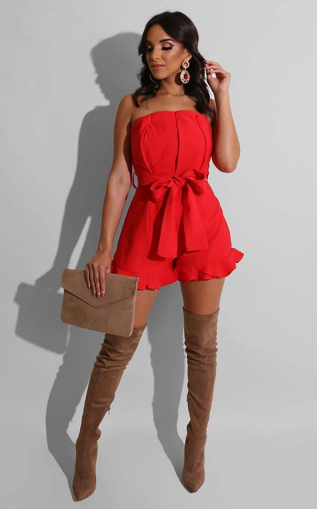 Boho Day Flare Romper Red