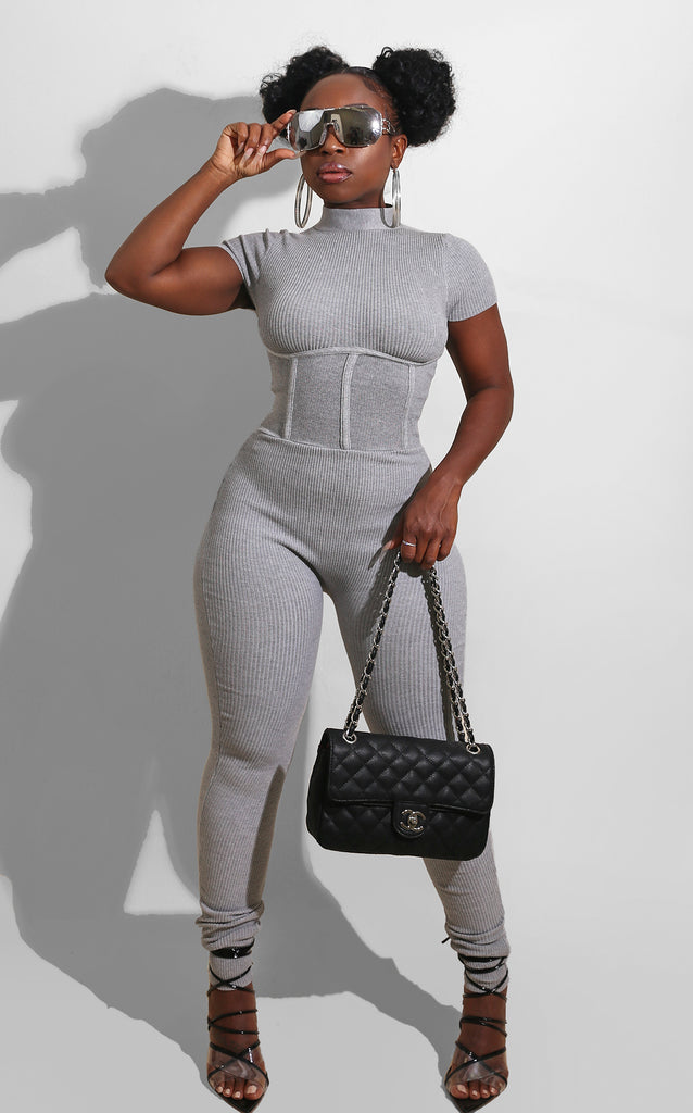 Fall Knit Ribbed Jumpsuit Grey