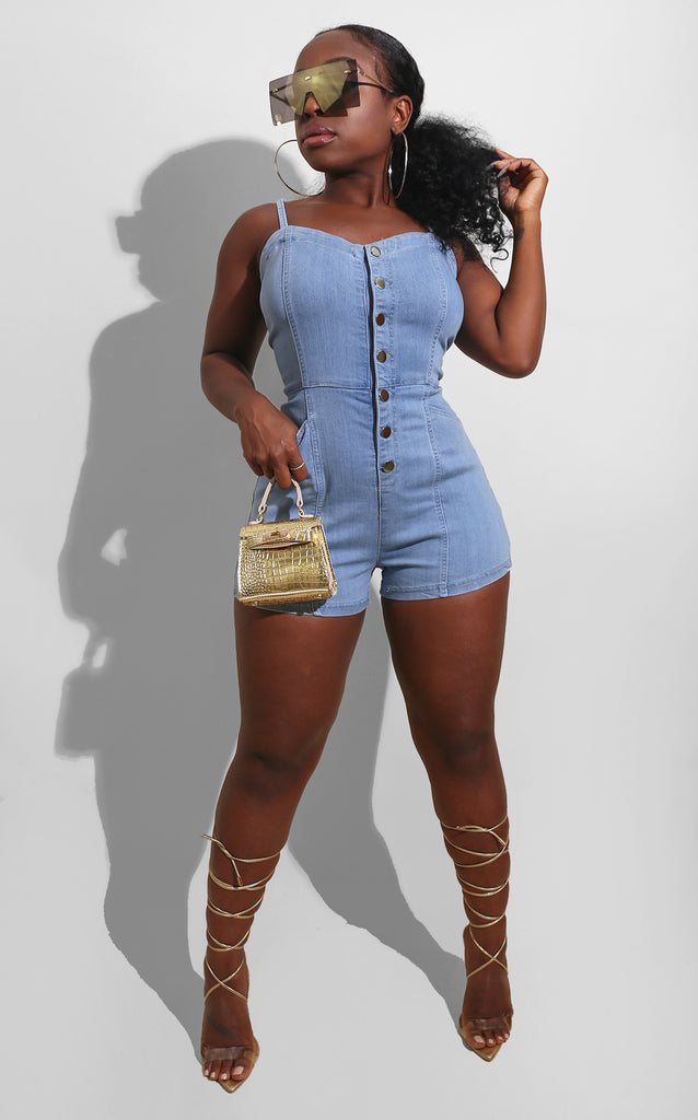 Fall Denim Button Romper