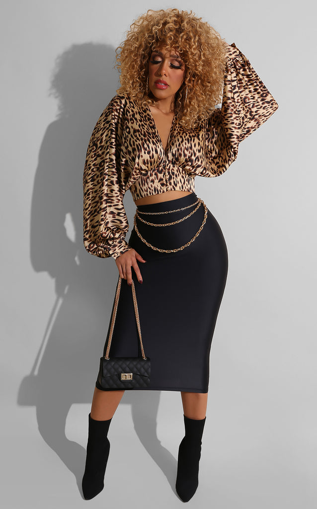 Satin Feel Leopard Top