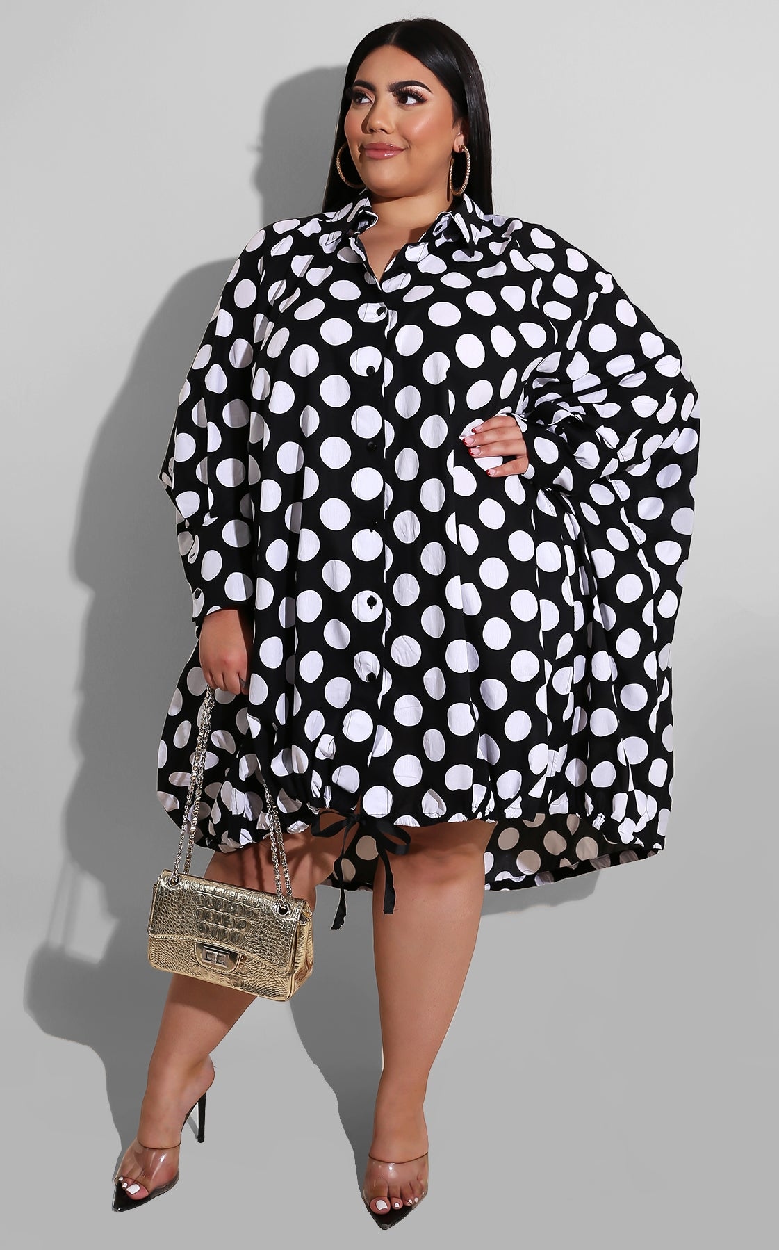 Curvy Sweet As Pie Mini Black White Polkadot
