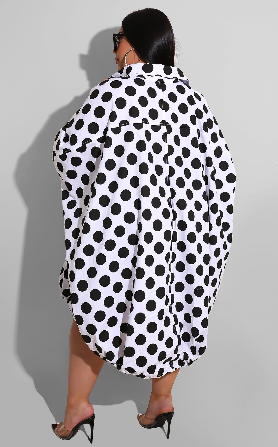 Curvy Sweet As Pie Mini White Black Polkadot