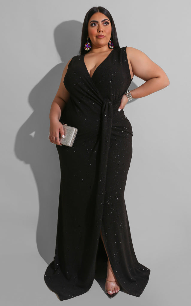 Curvy Bring On The Drama Gown Black
