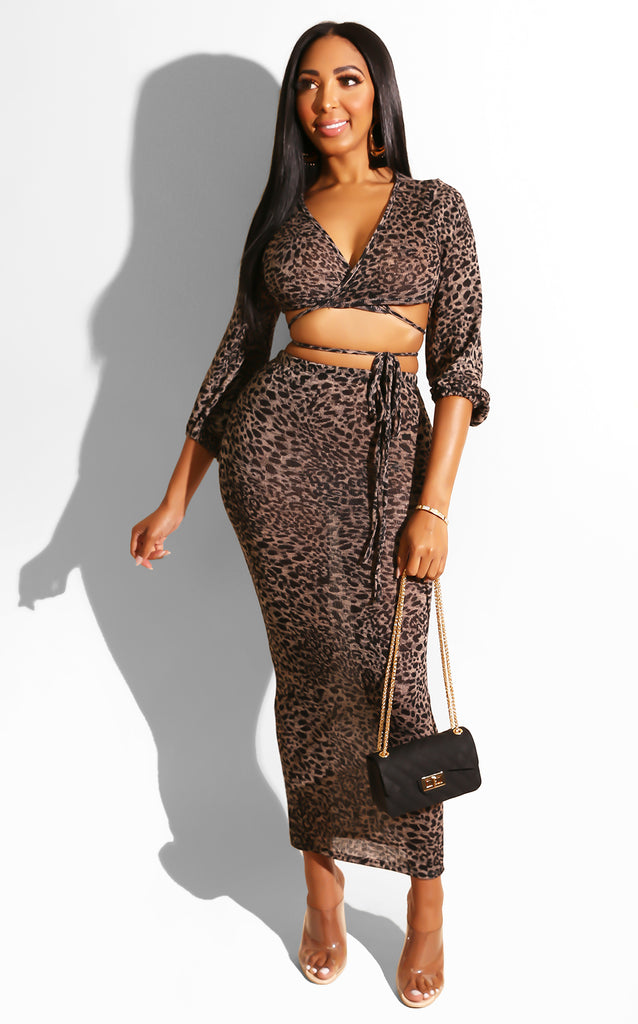 Fierce Leopard Skirt Set