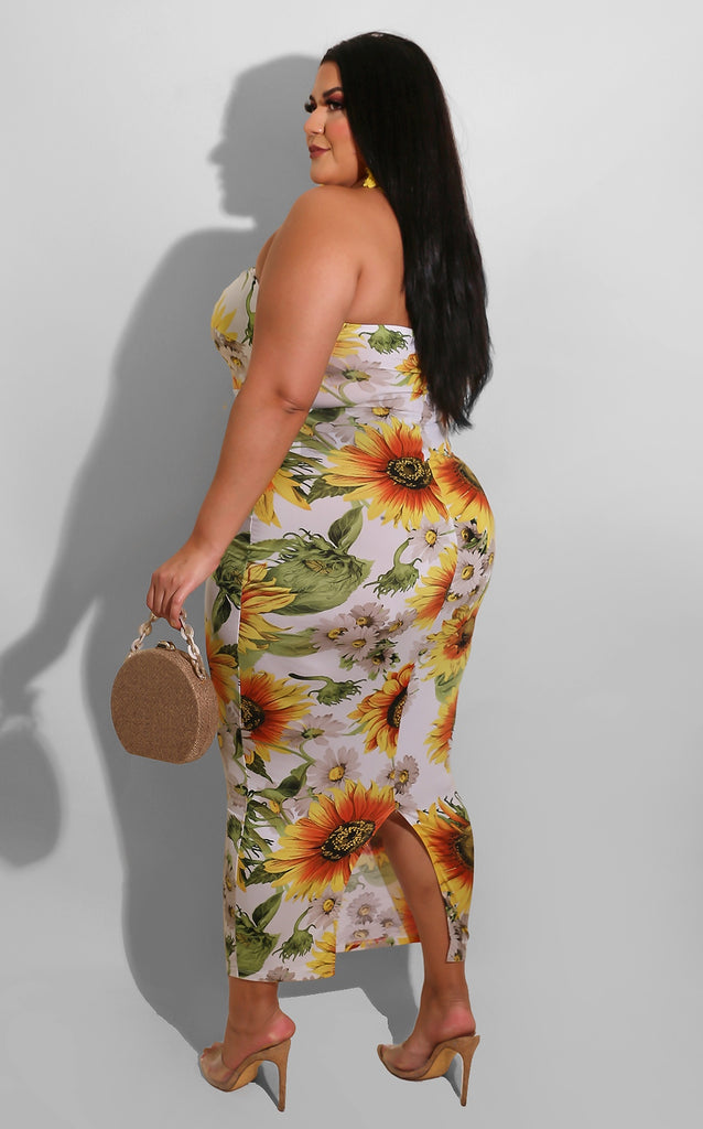 Curvy Like A Flower Midi White