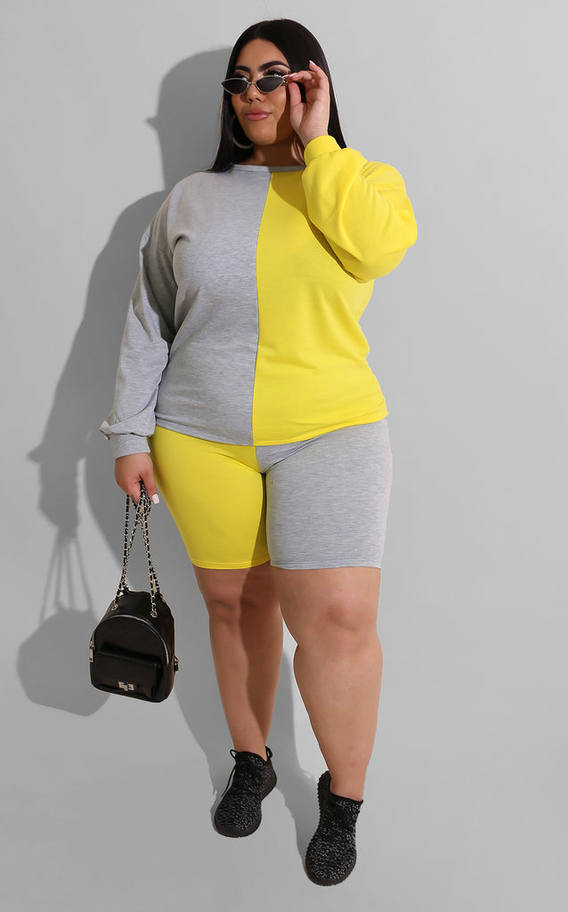 Curvy Half Color Block Set Yellow