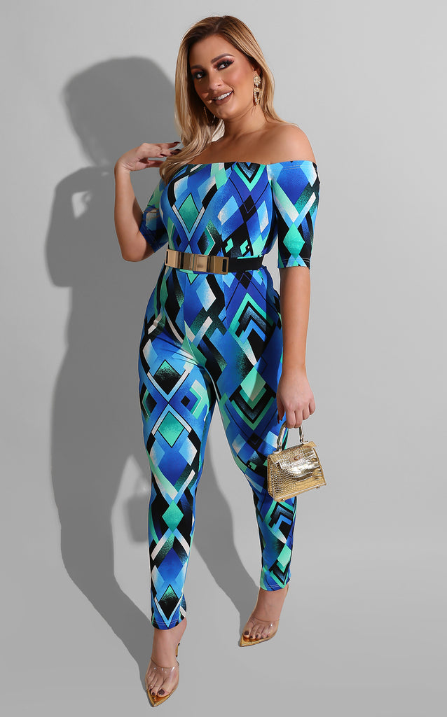 Abstract Belted Jumpsuit