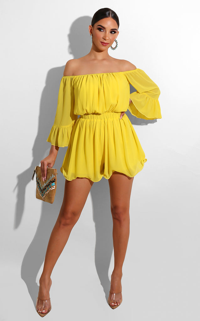 Pleated Spring Romper Yellow