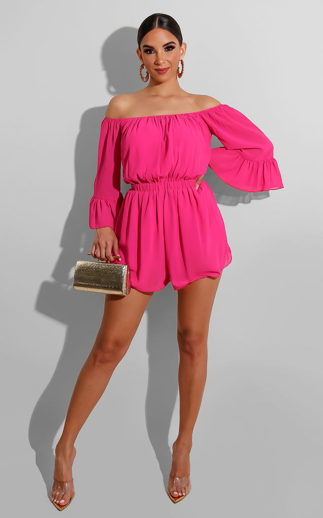 Pleated Spring Romper Hot Pink