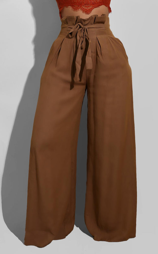 Fall Belted Palazzo Brown