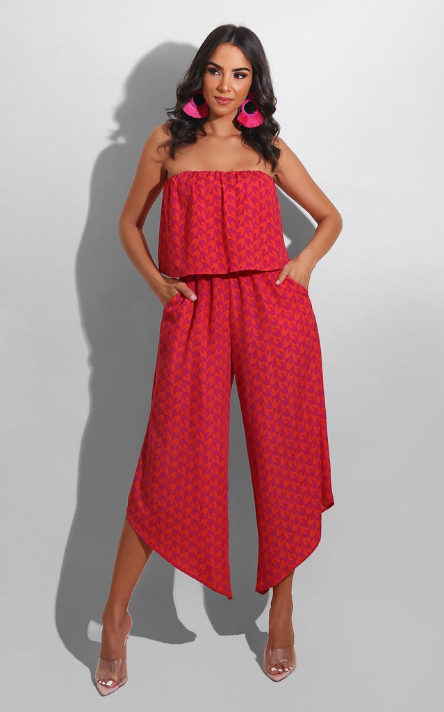 Eye Open Jumpsuit Red